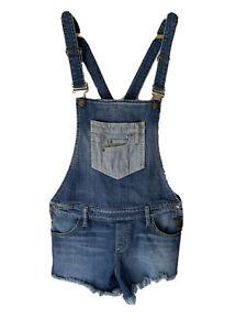 Vtg GUESS Jeans Overalls Shorts Blue Sz L Shortalls Denim Romper EUC