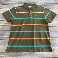 Lacoste Polo Brown Orange Striped Mens Size 7 XL Short Sleeve Polo 🐊