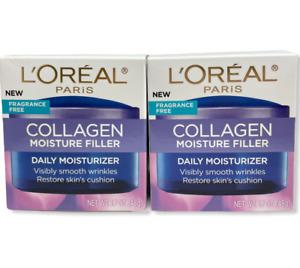 L'OREAL Collagen Moisture Filler Daily Moisturizer Smooths Wrinkles 1.7 oz x2