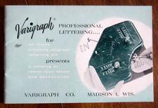 Vintage Catalog of VARIGRAPH Lettering Instruments  - 1958