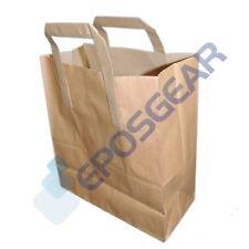 100 Medium Brown SOS Kraft Takeaway Food Party Gift Paper Handle Carrier Bags