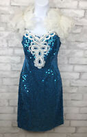 Vintage Blue and White Sequin Party Cocktail Dress Ruffle Shoulder Size 9/10