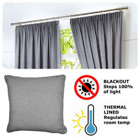 Fusion DIJON Silver Grey - Blackout Pencil Pleat Curtains, Tiebacks & Cushions