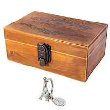 SiCoHome Treasure Chest with Lock and Key Vintage Wood Decorative Box