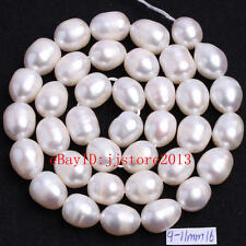 """9-11mm Natural White Freshwater Pearl Oval Shape Gemstone Loose Beads Strand15"""""""