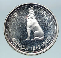 1967 CANADA UK Queen ELIZABETH II Wolf Howls Vintage Silver 50 Cents Coin i86529
