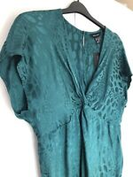 Brand New New Look Size 14 Teal Blue Snake Skin Print 1970s Disco Silky Jumpsuit