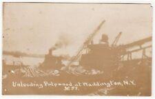 RPPC - Unloading Pulpwood Waddington NY 1910 Logging - St Lawrence County Photo