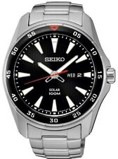 SEIKO SNE393P1 Solar Gents Sports Black Dial Day Date WR 100M 2Yr Guar RRP £199
