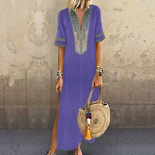Women Print Short Sleeve V-neck Maxi Dress Hem Baggy Kaftan Beach Long Dress CA