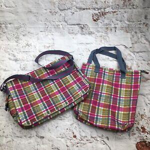 Roxy Quiksilver Messenger Bag & Tote School Work Laptop Pink Plaid Check Print