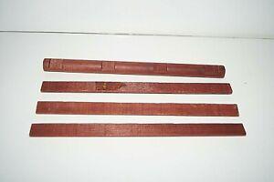 "Wooden LINCOLN LOGS Part Lot 4 Pcs 3 FLAT 1 Round 4 Notch Pieces 10.5"" Brown Vtg"
