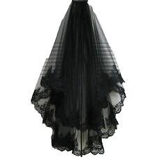 2 Schichten Vintage Lace Tüll Hochzeit Brautschleier Braut Haarschmuck Schwarz