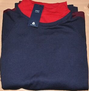 LADIES M&S COLLECTION MERINO WOOL BLEND BLOCK JUMPER SIZE LARGE NAVY MIX BNWT