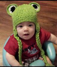 Frog baby crochet hat beanie cap costume photo prop boy girl 12-18 months