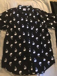 Marvel Comics Punisher Men's Size Small/medium Short Sleeve Button Up Down Shirt
