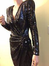 TADASHI DESIGNER VINTAGE Black Sequin Stretch Ruched FORMAL DRESS BALL GOWN 10 M