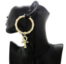 New Egyptian Ankh Dangling Pincatch Bamboo Earrings Gold Plated