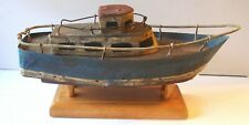 """Vintage Hand Made Cabin Cruiser, Wood & Metal, Floats 9½"""" Long with Stand (inv28"""