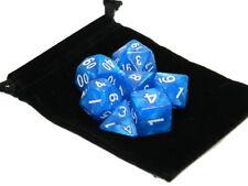 Wiz Dice 7 Die Polyhedral Set Horizon Blue RPG DnD Dice With Dice Bag
