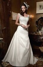 CASABLANCA BRIDAL $1199 NEW 12 #2027 IVORY TAFFETA JEWELED COUTURE WEDDING DRESS