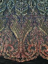 Iridescent Rainbow 4Way Stretch Sequin Fabric Spandex Mesh Lace-Prom-Gown 1Yard