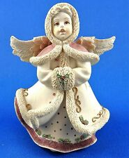 Sarahs Angels Figurine Winter Gown Coat Muff Cream Gold Pink Holly Berry China