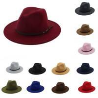 Frauen Wollfilz Outback Hut Panama Hut breiter Krempe Gürtelschnalle Fedora Hüte