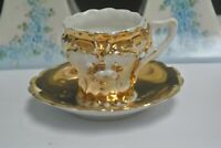 Vintage German Demitasse White and Gold Cup and Saucer Embossed