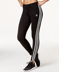 Adidas Originals Black/White 3 Stripe Women's Leggings (L) New With Tags
