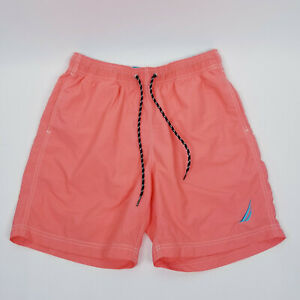 Nautica Board Swim Shorts Mens Size S Elastic Waist Pockets Peach