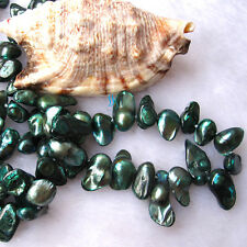 """Mother Of Pearl Necklace Jewelry 49"""" 7-8mm Teal Blue Baroque Freshwater"""