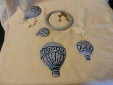 Hand Made Cast Plaster Hot Air Balloons With Clouds Hanging Mobile