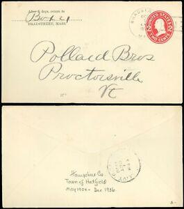 1910 BRADSTREET MASS (DPO, HATFIELD MA Related) to PROCTORSVILLE VERMONT, on PSE