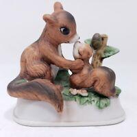 Vintage Enesco Squirrel Mother & Baby Ceramic Figurine