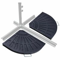 Outdoor Cantilever Offset Umbrella Base Stand Patio 2-Piece Fan-shape Heavy Duty