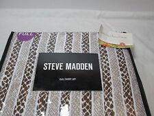 New Steve Madden BARNESS Microfiber Chocolate & Tan Full Sheet Set NIP