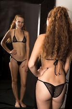 fun Micro Scrunch butt Bikini black twinkle mesh see thru w/ adj.top S/M dare