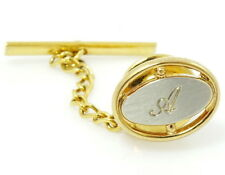 Vintage Letter A Initial Tie Tack Pin Oval Two Tone Hickok