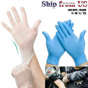 Nitrile Blue Durable Rubber Cleaning Hand Gloves Powder Latex Free - 100 Pcs/ORD