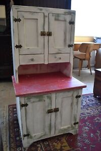 Antique Painted Primitive Kitchen Cupboard Cabinet, Child's Size
