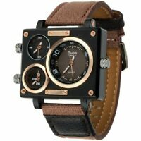 Rectangle Fashion Watch Three Time Zone Canvas Strap Quartz Gifts For Him Mens
