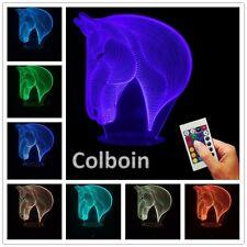 Led 3d Horse Night Light Lamp 7 Optical Illusion Colors Gift Kids Boys Girls Ani