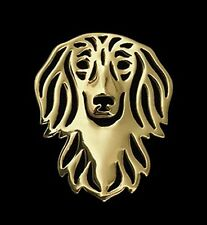 Dachshund Long Haired Brooch or Pin-Fashion Jewellery Gold Plated, Stud Back