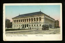Massachusetts MA postcard Boston Public Library trolley street view gold windows