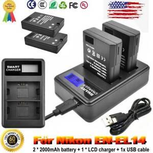 2X 2000mAh EN-EL14(A) Battery+ DUAL Charger for Nikon D5100 D3100 D3200 D3300