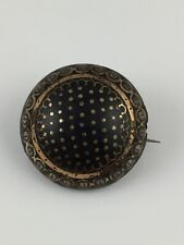Antique Victorian Pique Faux Tortoise Shell Gold Inlaid Brooch