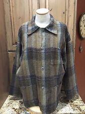 VTG Rockabilly Men's Wool Plaid 3 Pocket Pewter Copper Metal Button Down Jacket