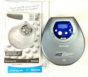 Vintage Philips AZ9113 Portable CD Player Shockproof Skip Protection w Paperwork
