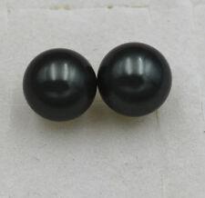 & 925 Sterling Silver Stud Earrings Aa+ New 12mm black South Sea Shell Pearl